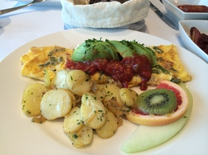 Tex Mex style Omelette served with potatoes.